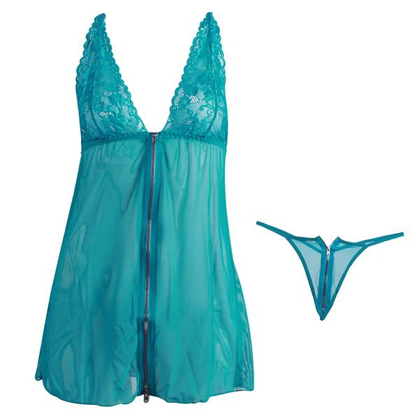 لباس خواب توری زیپدار زنانه فیروزه ای