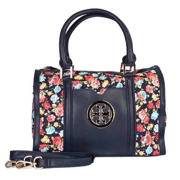 کیف دستی زنانه گلدار رنگ سرمه ای