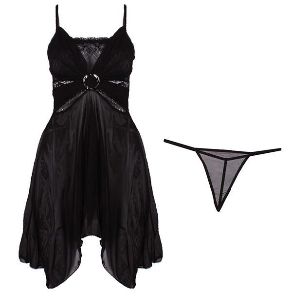 خرید لباس خواب توری زنانه مشکی