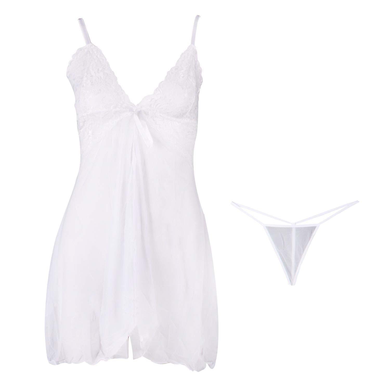 لباس خواب زنانه توری زنانه رنگ سفید