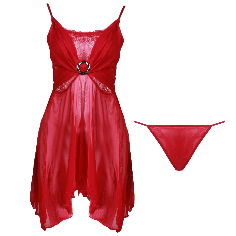 خرید لباس خواب توری زنانه قرمز